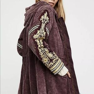 Free People Hood Coat Embellish Golden Military M